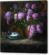 Lilacs In Copper Pot Canvas Print