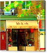 Lili And Oli Latte Espresso Cappucino Coffee Shop Rue Notre Dame St Henri City Scene Carole Spandau Canvas Print
