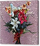 Lilies And Orchids Digitized Purple Canvas Print