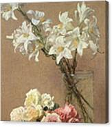 Lilies In A Vase Canvas Print
