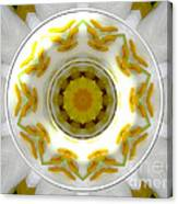 Lily And Daffodil Kaleidoscope Under Glass Canvas Print