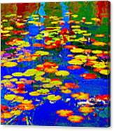 Lily Pads And Koi  Pond Waterlilies Summer Gardens Beautiful Blue Waters Quebec Art Carole Spandau  Canvas Print