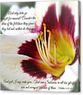 Lily With Scripture Canvas Print