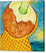 Lime Coconut Pineapple Guitar Canvas Print