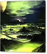 Lime Green Alien Landscape Canvas Print