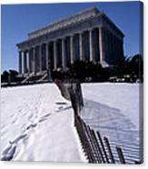 Lincoln Memorial In The Snow Canvas Print