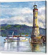Lindau Light And Harbour Canvas Print