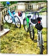 Line Of Bicycles In Park Canvas Print