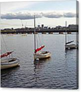 Line Of Boats On The Charles River Canvas Print