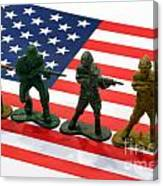Line Of Toy Soldiers On American Flag Crisp Depth Of Field Canvas Print
