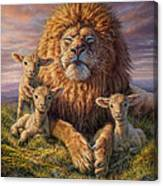 Lion And Lambs Canvas Print