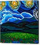Lion And Owl On A Starry Night Canvas Print