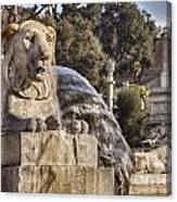 Lion Fountain In Rome Italy Canvas Print