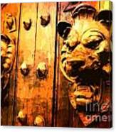 Lion Heads Gothic Door Canvas Print