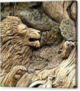 Lion On The Tree Of  Life Canvas Print