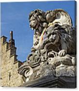 Lion Statue In Bruges Canvas Print