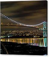Lions Gate Bridge At Night Canvas Print