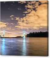 Lion's Gate Bridge Vancouver At Night Canvas Print