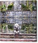 Lions In The Renaissance Court Fountain 2 Canvas Print