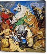 Lions Tigers And Leopard Hunt Homage To Rubens Canvas Print