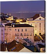 Lisbon At Night In Portugal Canvas Print