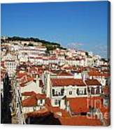 Lisbon Cityscape With Sao Jorge Castle And Cathedral Canvas Print