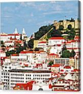 Lisbon Cityscape With Sao Jorge Castle Canvas Print