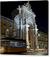 Lisbon - Portugal - Street Cars At Praca Do Comercio Or Terreiro Canvas Print