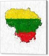 Lithuania Painted Flag Map Canvas Print