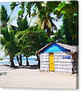 Little Beach Shack Under The Palms Canvas Print