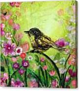 Little Bird In Green Canvas Print