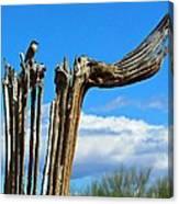 Little Bird On Tall Dead Saguaro Canvas Print