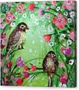 Little Birdies In Green Canvas Print