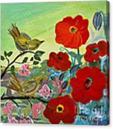 Little Birds And Poppies Canvas Print