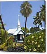 Little Blue Church Kona Canvas Print