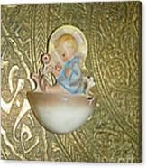 Newborn Boy In The Baptismal Font Sculpture Canvas Print
