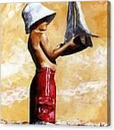 Little Boy In The Beach Canvas Print