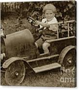 Little Boy In Toy Fire Engine Circa 1920 Canvas Print