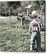 Little Boy On Farm Canvas Print