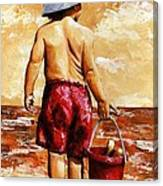 Little Boy On The Beach II Canvas Print