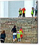 Little Children Climbing Steps Of Lutheran Cathedral Of Helsinki-finland Canvas Print