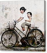 Little Children on a Bicycle Canvas Print