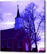 Little Church At Night Canvas Print