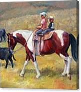 Little Cowboys Of Ruby Valley Western Art Cowboy Painting Canvas Print