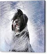 Little Doggie In A Snowstorm Canvas Print