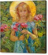 Little Flower Girl Canvas Print