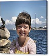 Little Girl By The Little Mermaid Canvas Print