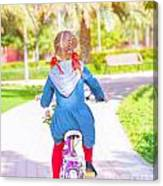Little Girl On The Bicycle Canvas Print
