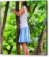 Little Girl Playing In Tree Canvas Print