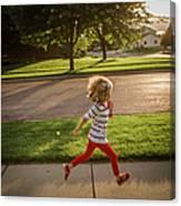 Little Girl Running Canvas Print